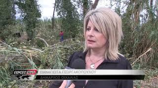 """Ανεμοστρόβιλος """"χτύπησε"""" χωριά του Δήμου Οιχαλίας - Ζημιές σε σπίτια, στάβλους & καλλιέργειες"""