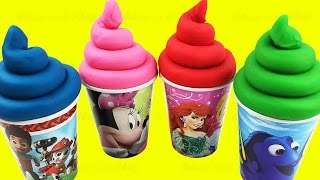 Play Doh Ice Cream Surprise Toys Finding Dory Pooh My Little Pony Hello Kitty Eggs Learn Colors