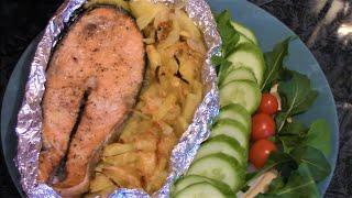 Как вкусно приготовить кету с картофелем в духовке.//Кета рецепт./ Chum salmon in the oven