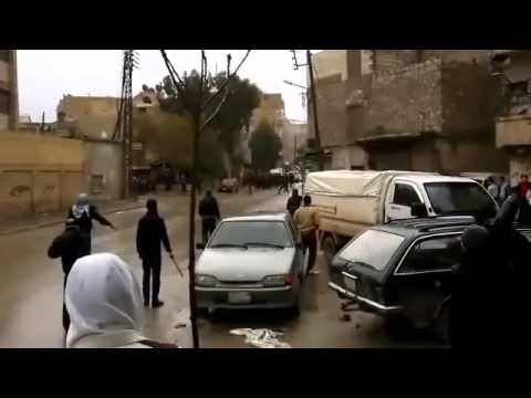 "Syria - Aleppo - battles between protesters and Assad gangs 16/03/2012  ""Deutsch Unten"""