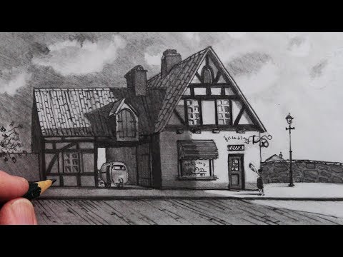 How To Draw An Anime House In 1-Point Perspective: Kiki's Delivery Service