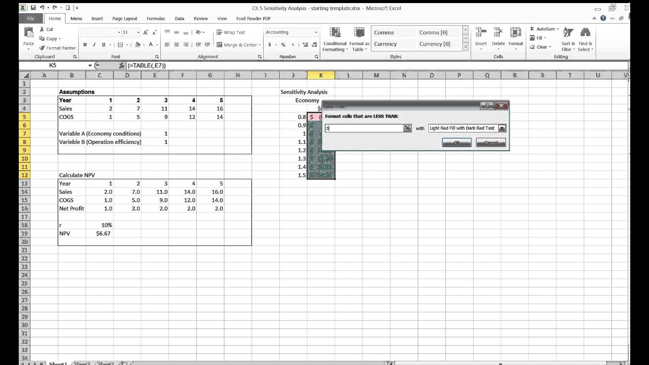 table function excel
