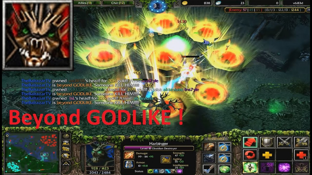 DotA 6.83d - Obsidian Destroyer Beyond GODLIKE !