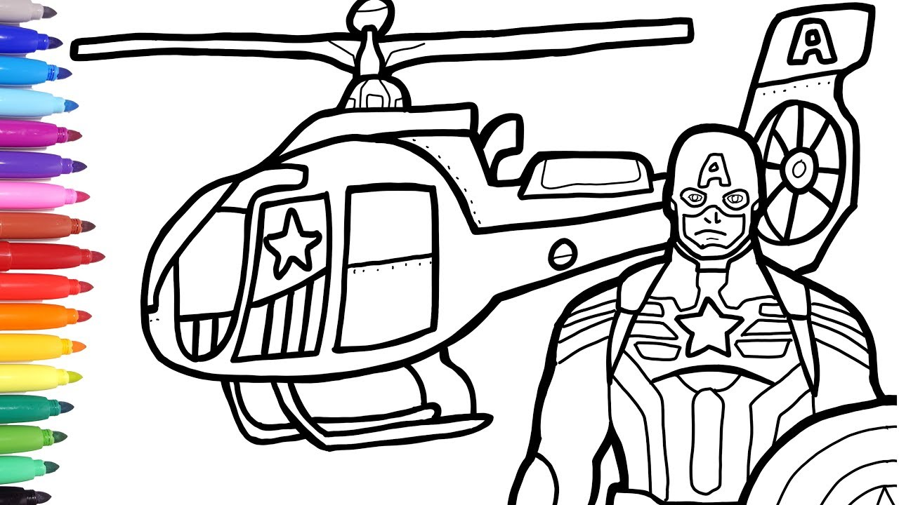 Captain America Helicopter Coloring Pages, Superheroes Vehicles, Bike Car Helicopter Coloring