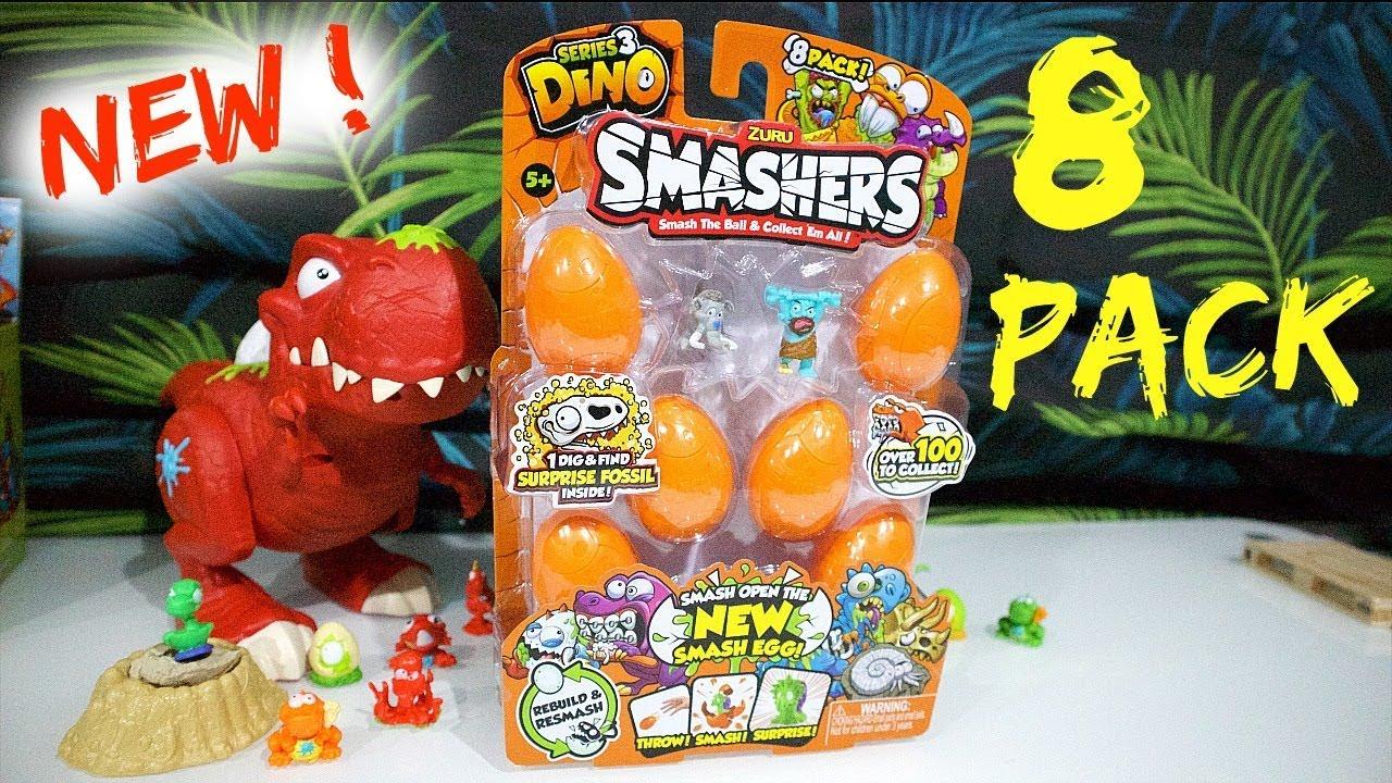 ZURU DINO Smashers-Series 3-8 Pack-Nuovo di Zecca