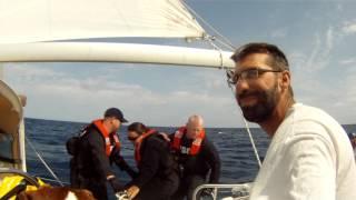 US Coast Guard boarding... under sail?!
