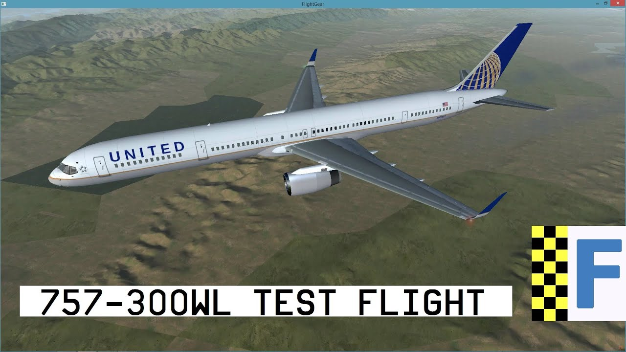 [FlightGear] New 757-300WL Test Flight / KSFO-KLAX / United Livery (HD)