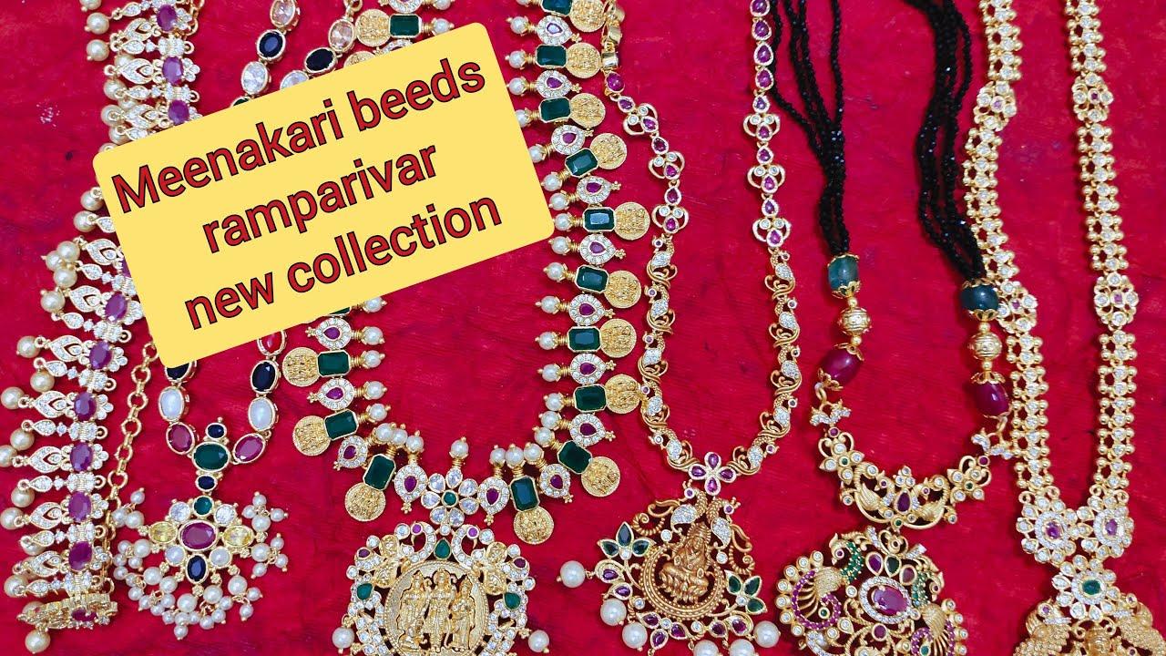 Meenakshi Beeds Ramparivar Lakshmi Necklace Studs Priyanka Kollections 7013573487