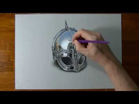 Drawing Time Lapse: viking armour helmet – hyperrealistic art