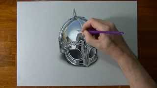 Drawing Time Lapse: viking armour helmet - hyperrealistic art