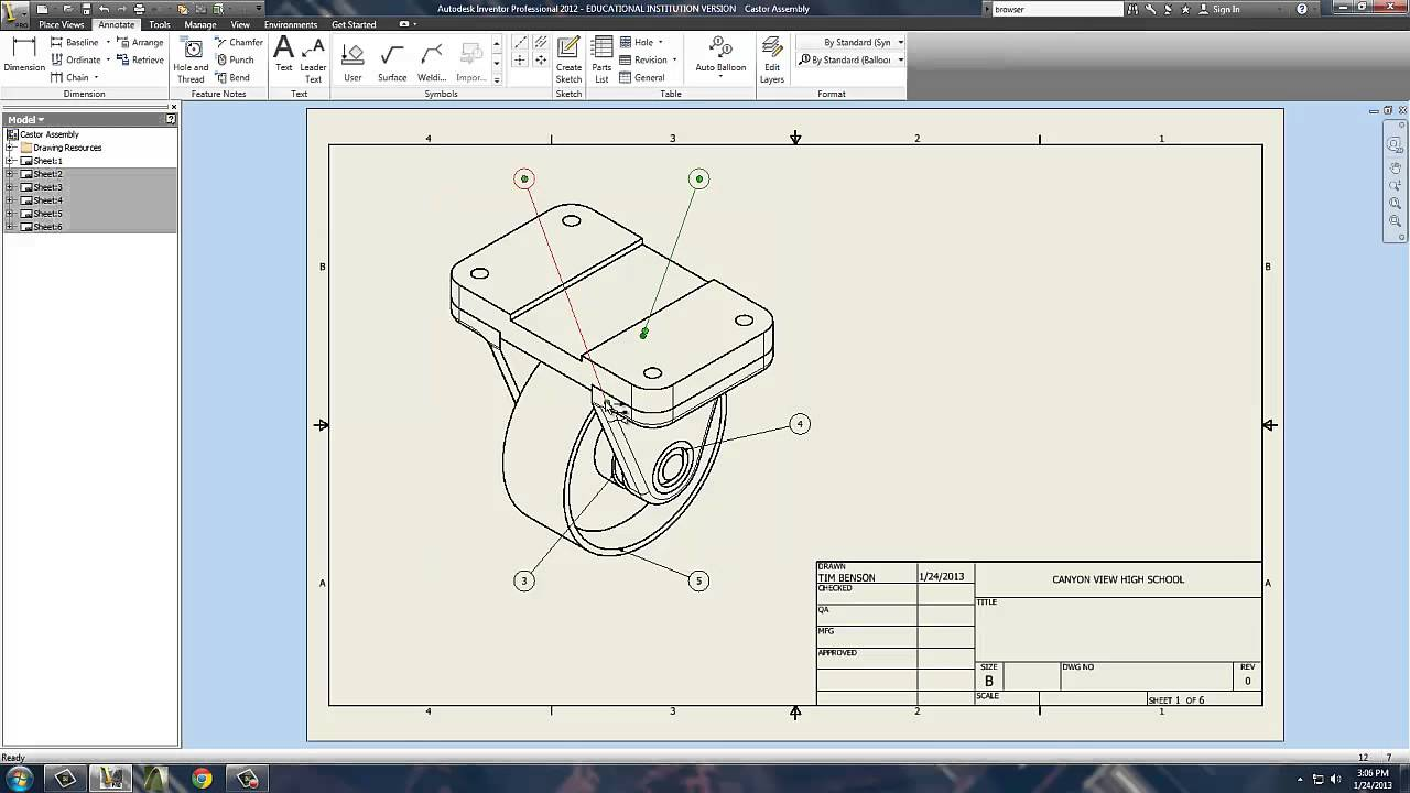 Inventor Drawing File Annotation Part 1