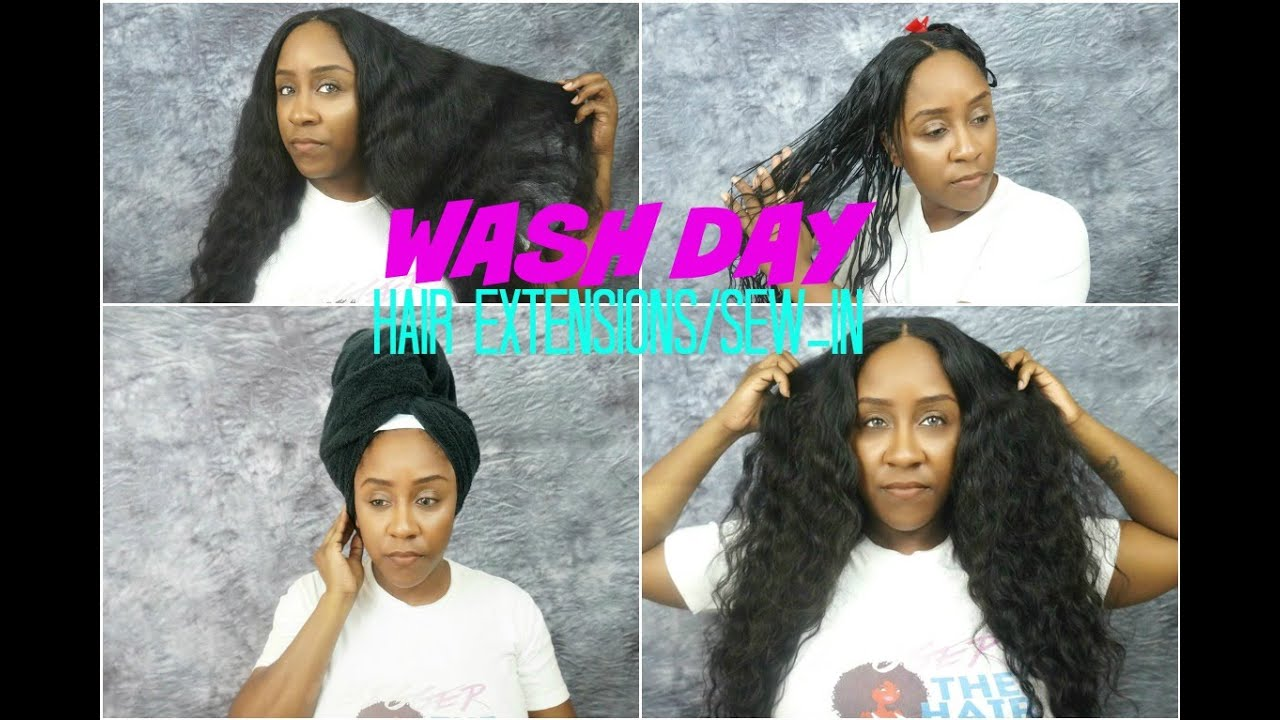 How To Wash Your Hair Extensions Sew In Easily Sugar Hair Youtube