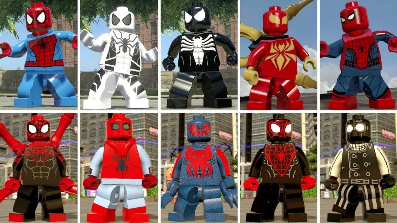 all spiderman suits in lego marvel videogames youtube