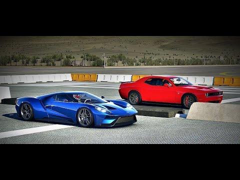 Forza 6 Drag Race: 2017 Ford GT vs. 2015 Dodge Challenger SRT Hellcat