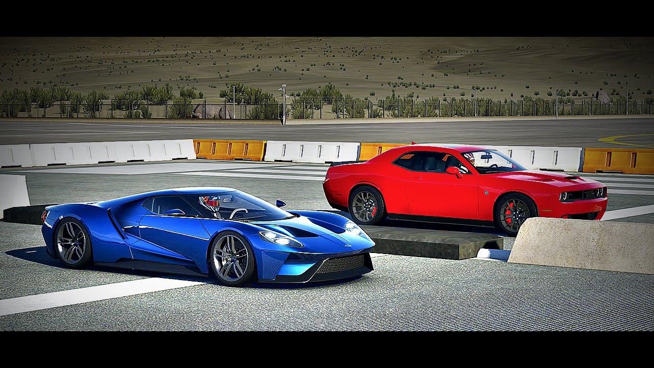 Forza  Drag Race  Ford Gt Vs  Dodge Challenger Srt Hellcat Youtube
