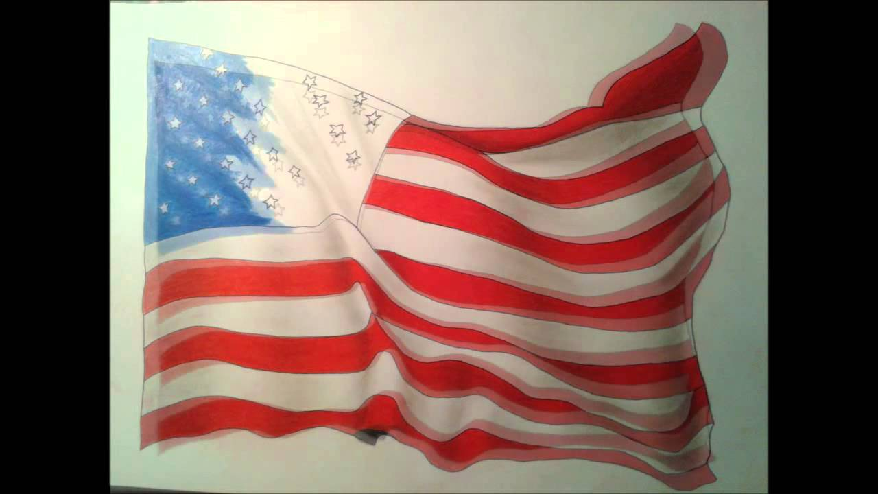 Dessin Du Drapeau Des USA
