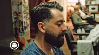 Natural Side Part with Soft Edge Skin Fade and a Beard Trim thumbnail