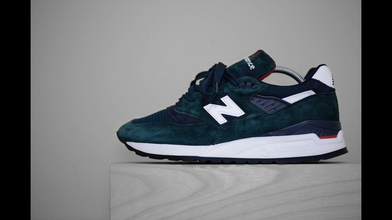 sale retailer 0153c 3d77e New Balance 998 - Made In USA (Dark Green White Navy Red)