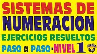 SISTEMAS DE NUMERACIÓN - Ejercicios Resueltos - Nivel 1 - Paso a Paso - ARITMÉTICA