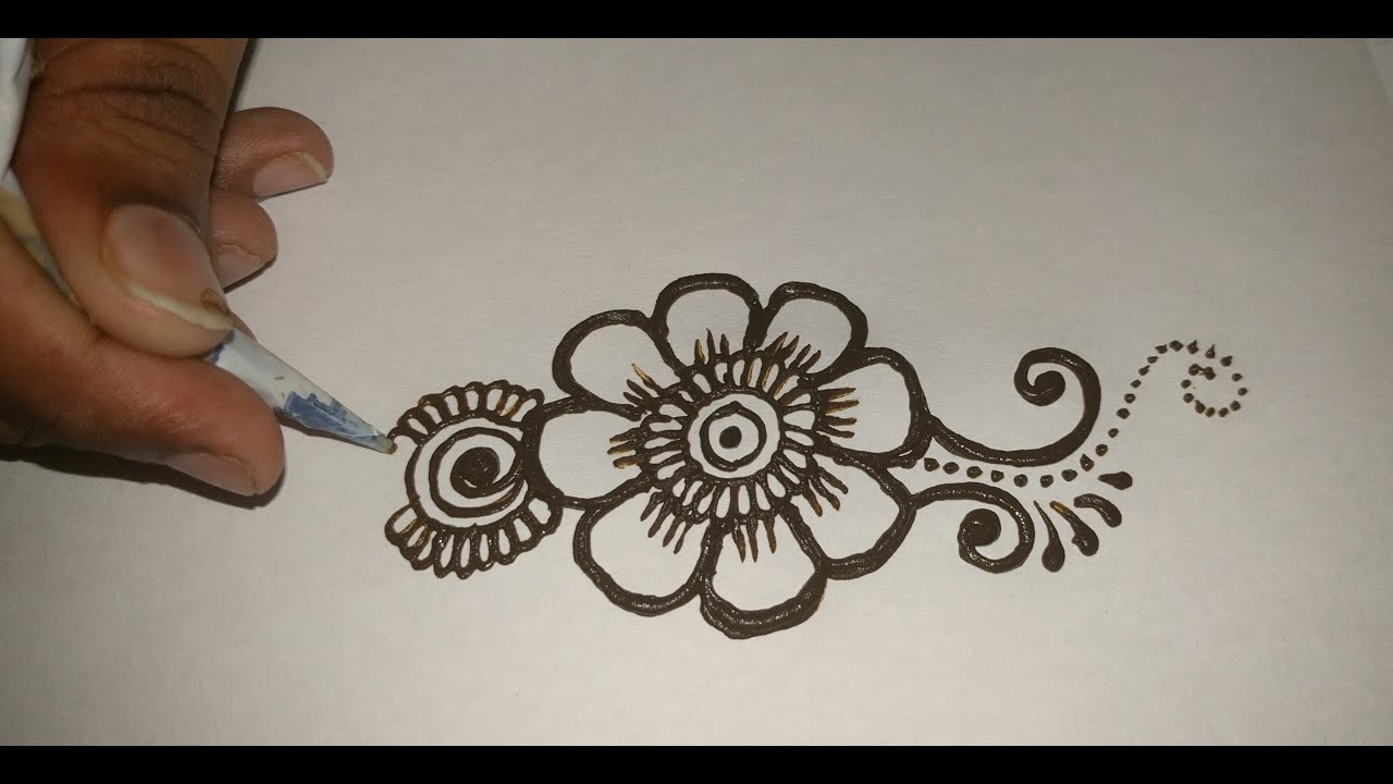 how to draw simple mehndi designs step by step
