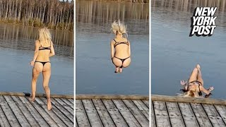 Russian babe bounces off frozen lake