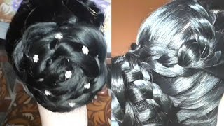 diwali k liye  Bun hairstyle for wedding,party and odher occasion