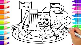 Learn to Draw a Waterpark Step by Step for Kids | How to Draw a Swimming Pool with Slides