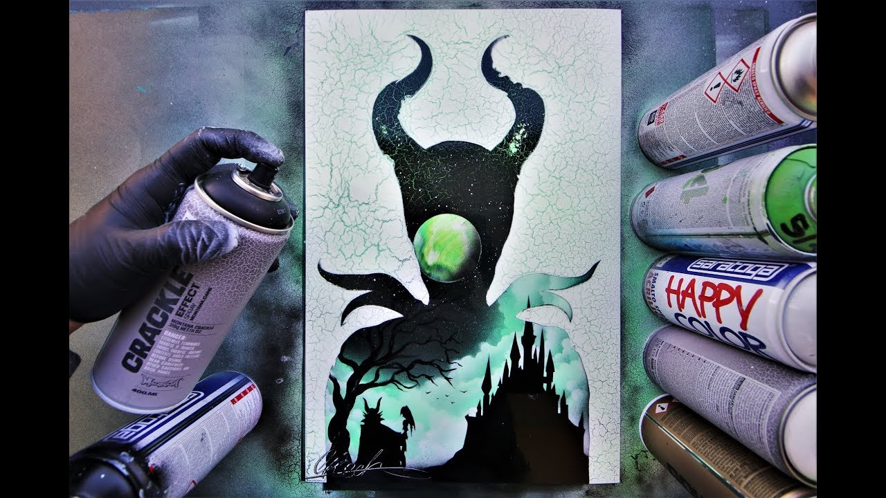 Maleficent Villain And Hero Spray Paint Art By Skech