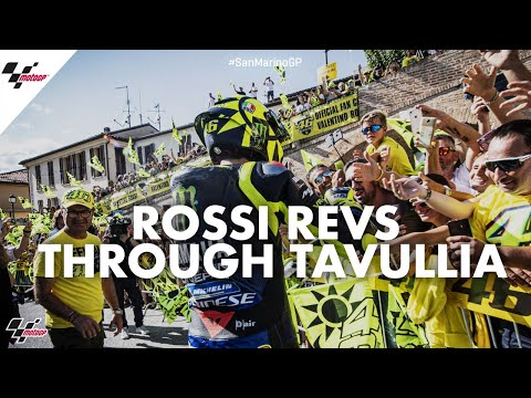 Hometown hero: Rossi revs through Tavullia | 2019 #SanMarinoGP