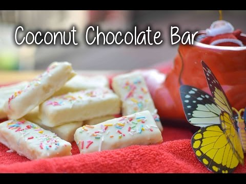 Coconut Chocolate Bar|how to make chocolate at home simple easy method by chef shaheen