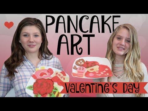 PANCAKE ART CHALLENGE VALENTINES DAY EDITION    Taylor and Vanessa