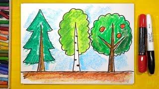 Как нарисовать 3 Дерева (Ель, Березу, Яблоню), Урок рисования для детей от 3 лет
