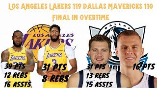 Los Angeles Lakers Win 119 110 In Ot Against Mavericks; Lebron James, Luca Doncic Triple Double
