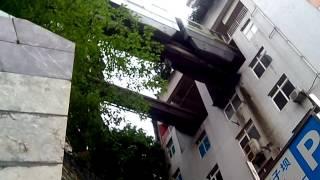 Train runs into building's 5th floor, Chongqing, China.