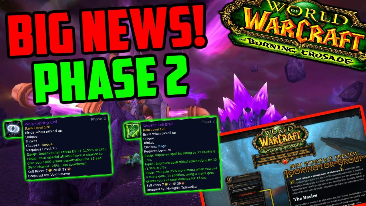 Phase 2 is Coming - BIG News for TBC Classic - PTR Next Week