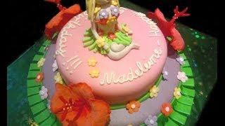 Hawaii Cake With Hula Girl And Hibiscus Flowers