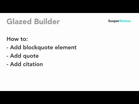 Blockquote Element Glazed Builder Drupal Tutorial thumbnail