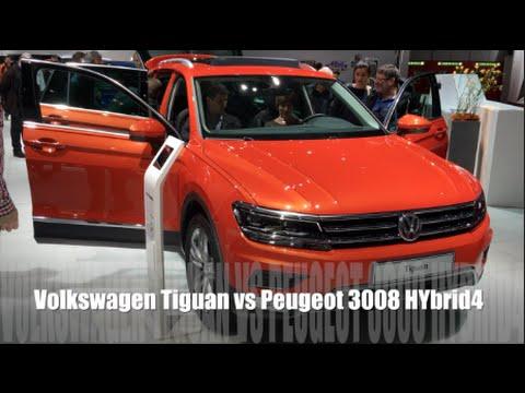 volkswagen tiguan 2016 vs peugeot 3008 hybrid4 2016 youtube. Black Bedroom Furniture Sets. Home Design Ideas