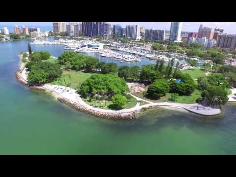 Drone footage of Sarasota Bay and Bay Front Park