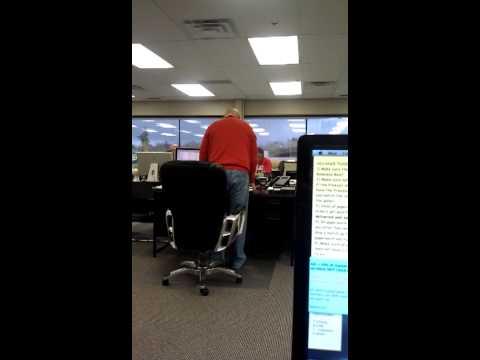 Airhorn prank on coworker
