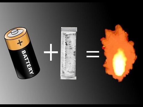 How To Light Fire With Gum Wrapper and Battery