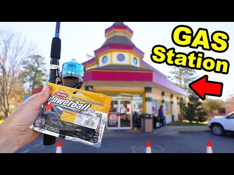 Gas Station Fishing CHALLENGE (SURPRISING!)