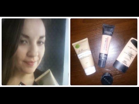 Обзор на тональные крема и базу под макияж Garnier, LOréal,  Max Factor , AVON