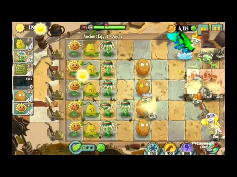 Awesome pvz gameplay in Acient Egypt LIVE