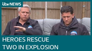 Hero neighbours rescue two people from house explosion in Ashford, Kent | ITV News