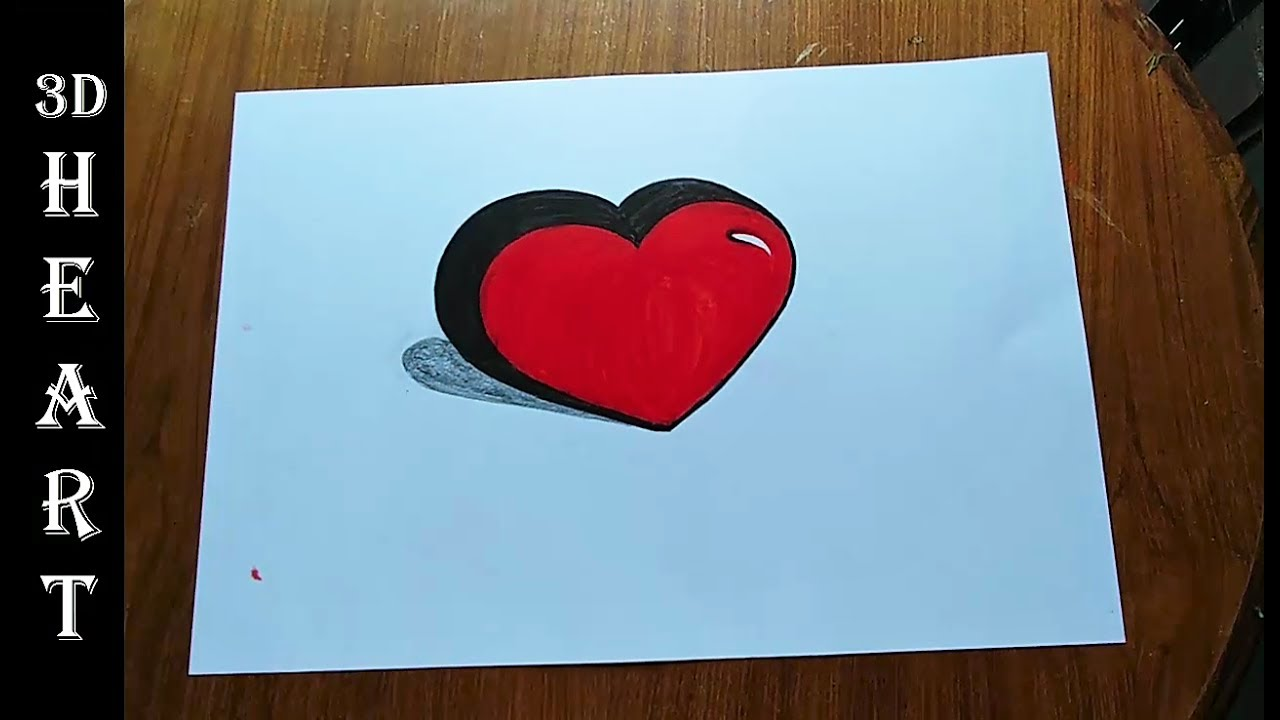 How to draw easy 3D Heart | how to draw heart step by step ...