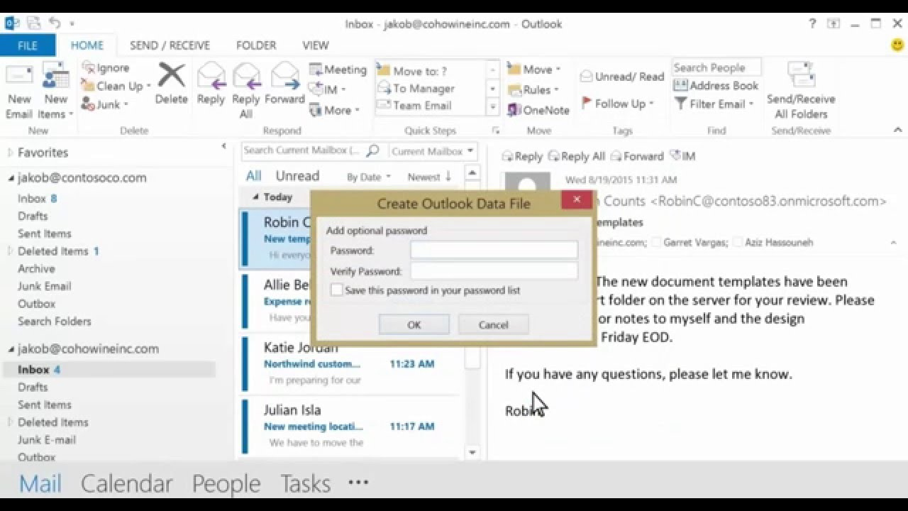 Office 365 - Import email, contacts, and calendar into Outlook