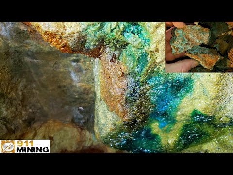 Malachite & Azurite Stained Solid Mineral Ore From An Old Mine!