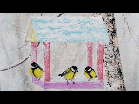 Winter Birdfeeder Acrylic Painting LIVE Tutorial