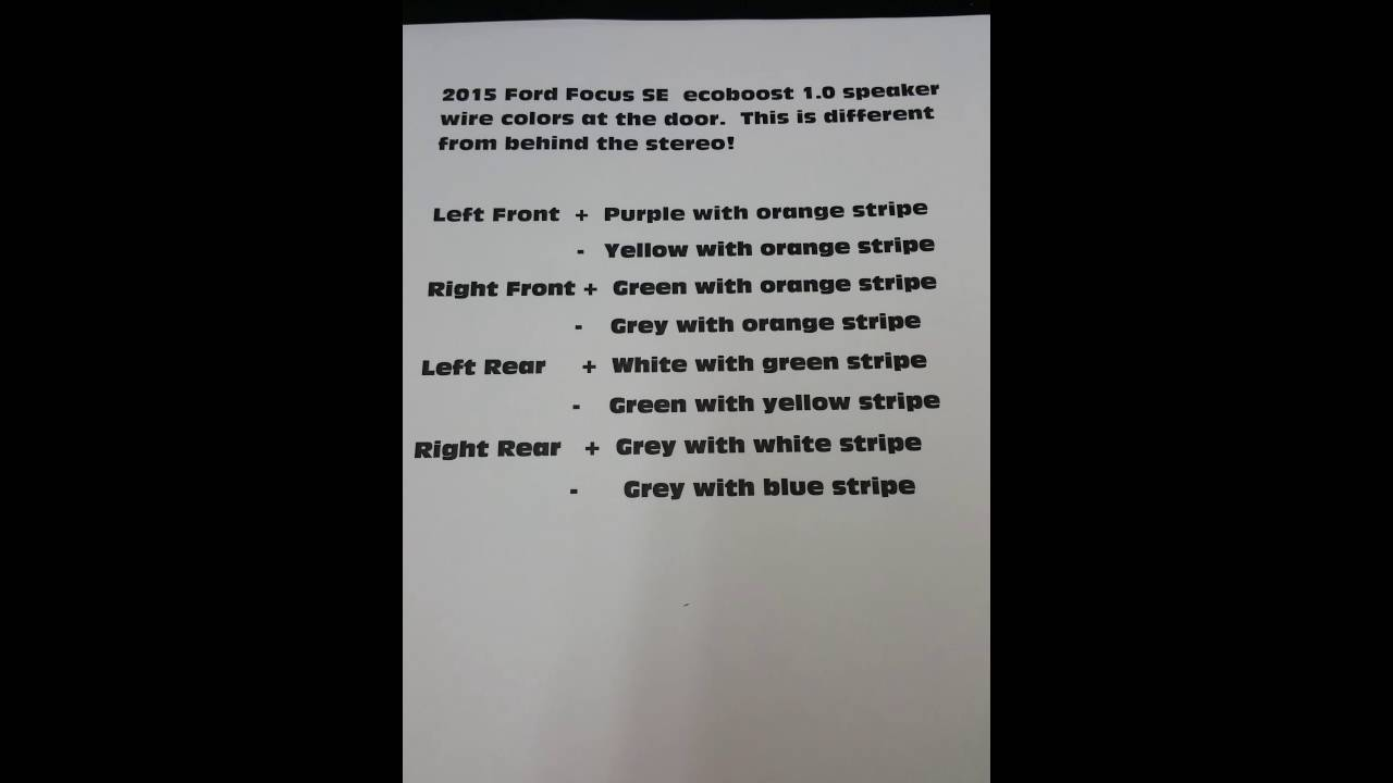 2015, 2016 Ford Focus SE speaker wire colors - YouTube